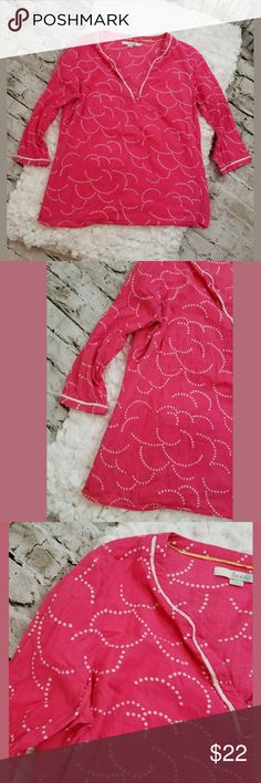 Boden hot pink tunic size 8 Boden hot pink tunic top with white polka dots US8 UK12 100% cotton laid flat bust 38 length 23 Boden Tops Tunics