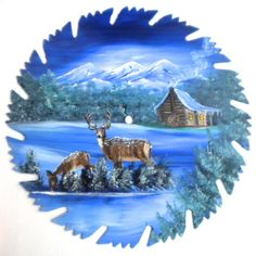 Hand Painted Saw Blade Mountain Winter by LindasMountainCrafts, $19.95