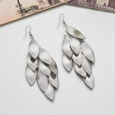 Peacock Feathers Long Drop Earrings (Gold, Silver, and Black)