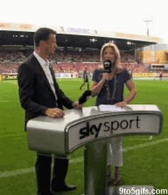 Sky sports reporter gets football on the head