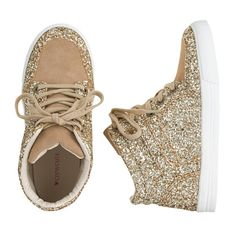 J.Crew - Girls' GOLD glitter suede high-tops ♡ed by LADYXEONA.COM