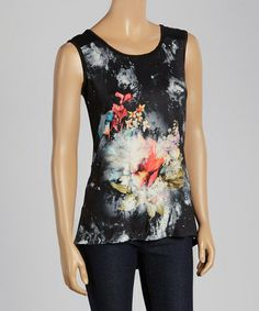 Loving this Black & Coral Floral Sleeveless Top on #zulily! #zulilyfinds