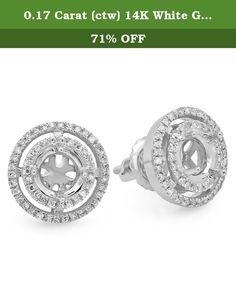 0.17 Carat (ctw) 14K White Gold Round White Diamond Doube Halo Stud Earrings (No Center Stone). This lovely diamond ladies stud-earrings feature 0.17 ct white diamonds in micro prong setting. All diamonds are sparkling and 100% natural. All our products with FREE gift box and 100% Satisfaction guarantee. A round center stone can be set with carat range of 0.50 cts. (5.2 mm) SKU # SBE-5114-1.