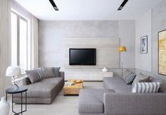 salon moderne en gris clair avec écran plat mural fixé à un panneau décoratif aspect bois