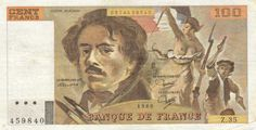"""Billet de banque de 100 Francs (FF) de 1987. Sur la face avant (à gauche) est un fragment de son célèbre tableau «La Liberté guidant le peuple"""""""