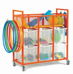 Sports storage trolley with 8 jumbo Gratnells trays. Fully welded steel frame available in 7 bright colours with heavy duty lockable castor wheels. 5 year warranty.