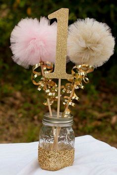 Pink and Gold Party Decorations Centerpiece Birthday Party First Birthday Photo Prop Party Birthday Centerpiece Table Decoration ***Please note that current processing time is up to 2 weeks plus shipp Baby Girl 1st Birthday, First Birthday Photos, Unicorn Birthday, First Birthday Parties, Birthday Ideas, Fairytale Birthday Party, Princess First Birthday, Cousin Birthday, Ballerina Birthday