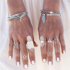 Like the bracelets & a couple of the rings... except that huge crystal quartz on the left, lol