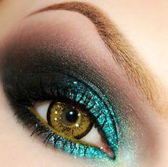 Teal Glitter eyes #PrimerasVecesbyCyzone