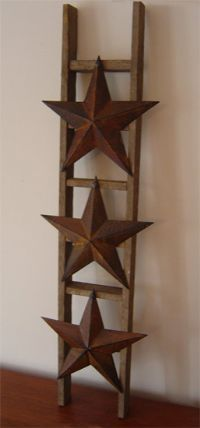 Wood Ladder With 3 Rusty Stars