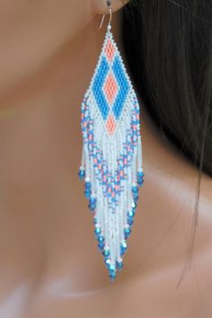 Shoulder Duster Earrings  Extra Long Seed Bead  Fringe