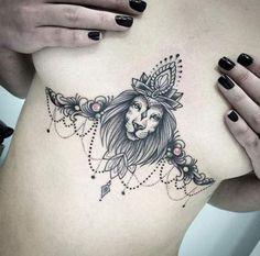 Lion sternum underboob tattoo idea -- 50 Powerful Lion Tattoo Ideas to Enhance Your Personality Trendy Tattoos, Cute Tattoos, Small Tattoos, Tattoos For Guys, Tattoos For Women, Small Lion Tattoo For Women, Dotwork Tattoo Mandala, Underboob Tattoo, Thigh Tattoos