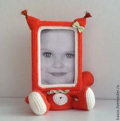 Купить Вязаная фоторамка Белочка - оранжевый, белочка, белка, игрушка, фоторамка, рамка для фото, рамка