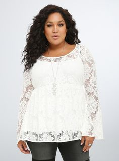 80cacb92561 Plus Size Lace Bell Sleeve Blouse Curvy Fashion