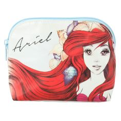 Disney The Little Mermaid Sketch Cosmetic Bag | Hot Topic ($9.50) ❤ liked on Polyvore featuring beauty products, beauty accessories, bags & cases, travel kit, travel dopp kit, dopp bag, wash bag and makeup bag case