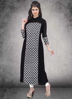 Gorgeous Black Weightless Embroidery Knee-Long India Designer Kurti At Reasonable Rates By Uttamvastra