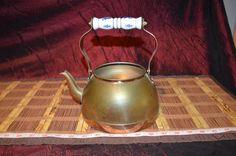 """Vintage Copper Tea Pot / Kettle Planter with Brass & Delft Handle 8 5/8""""x8 1/8"""""""