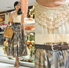 Fashion Infinity Dress Turned Top, Detail Bydetails Printed Maxi Skirt, From Dad Vintage Belt, Oppo Bag, Schu Nude Sandals Nude Sandals, Infinity Dress, Printed Maxi Skirts, Filipina, Around The Corner, Sequin Skirt, Style Inspiration, Belt, Detail
