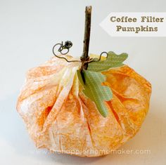 Coffee Filter Pumpkin Craft / Art Project – Ideal for Pre-K Complete Preschool … - Crafts for Kids Autumn Crafts, Thanksgiving Crafts, Holiday Crafts, Holiday Fun, Pre K Pumpkin Crafts, Thanksgiving Lunch, Spring Crafts, Halloween Crafts For Kids, Halloween Themes