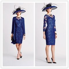Navy Blue Lace Long Sleeve Mother Of The Bride Dress with Jacket Evening Outfits