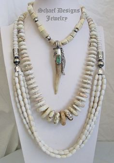 Schaef Designs off white agate and sterling silver long tube & bench bead multi strand necklace | Southwestern basics collection | New Mexico