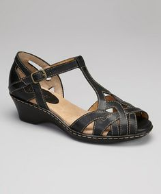 Look what I found on #zulily! Black Hikari T-Strap Sandal by Softspots #zulilyfinds Wedding party shoes…?