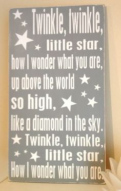 """Twinkle Twinkle Little Star- Hand Painted Wood Sign - 11""""x20"""". $25.00, via Etsy."""