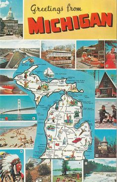 Vintage Michigan postcard with state map