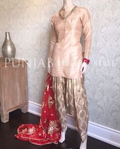 Love the use of different fabrics, soft colors and a versatile statement dupatta in this piece by Punjab Couture House.