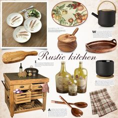 Rustic kitchen by bogira on Polyvore featuring polyvore interior interiors interior design home home decor interior decorating Crate and Barrel Stelton Cyan Design Sur La Table Le Souk Thirstystone kitchen rustic homedesign homeset rustickitchen