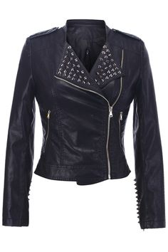 Shop Leather-look Rivets Detailed Jacket at ROMWE, discover more fashion styles online. Basic Style, Style Me, Edgy Girls, Rocker Chic, Latest Street Fashion, Summer Essentials, Classy And Fabulous, Gothic Fashion, Romwe