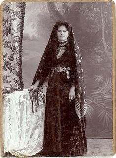 "Circassian woman. Unknown photographer.Circa 1900.    Also known as ""Cherkesses"" or Adighe as they call themselves. Circassian women were reputed for their beauty hence favored by the Ottoman sultans as slaves and concubines in the harem."