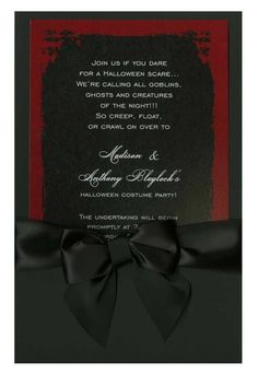 Eerie Grunge Frame Black & Red with Black Bow #eerie #grunge #bow #ribbon #halloween #fall #autumn #party #event #invite #invitation #invitationbox #design #interesting #pinterest #scary #spooky