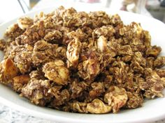 homemade apple cinnamon granola       2.5 cups whole rolled oats      3/4 cup ground flax      5 tbsp unsweetened applesauce      1/4 cup maple syrup      1/4 tsp salt      1 tbsp cinnamon (go by taste preference. i LOVE a ton of cinnamon)      1/2 cup pecans, chopped      1 cup dried apple rings, chopped