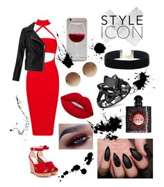 """Lady in red ❤️"" by crimson-styler333 on Polyvore featuring Jimmy Choo, Miss Selfridge, Victoria Beckham, Lime Crime and Yves Saint Laurent"