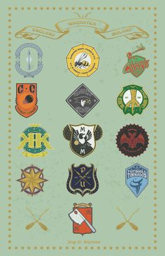 HARRY POTTER, QUIDDITCH, TEAMS, LOGOS, WIZARD WORLD, BY JORGE D. ESPINOSA
