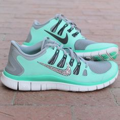 Women s Nike Free w  Swarovski Rhinestones - Green Glow - I would run all  the time if I had these! gianna vickers · shoes 6ca8ed38d