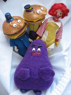 Vintage McDonalds Remco Action Figures Ronald Grimace Mayor McCheese Big Mac
