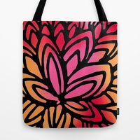 Tote Bag featuring Red and Orange Doodle Flower by Robin Gayl