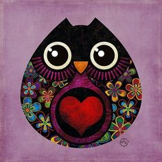 Black and red heart owl
