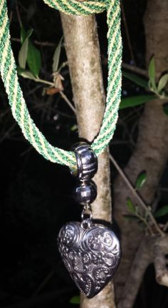 My second kumihimo creation - a necklace  with a heart pendant