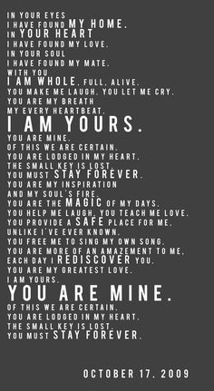 I am Yours, You are Mine. Frame this with your own wedding date.