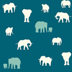 BIRCH ORGANICS KNITS - SERENGETI COLLECTION - THE HERD - TEAL    Other colors on fabric are CREAM and POOL. ELEPHANTS range in size from 1 to 2.