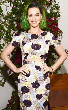 Katy Perry's ready for spring in her floral frock and new green 'do!