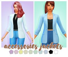 Hello everyone! So here are some accessories jackets for you guys! I hope you will enjoy! (It may not work with some clothes!) •  BASE GAME COMPATIBLE • 10 SWATCHES • ALL LODS • FOUND UNDER THE RING...