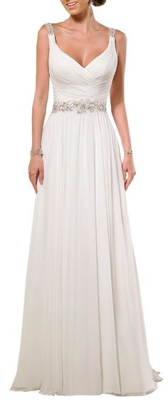 V Neck Shoulder Straps Soft Ruching Chiffon Wedding Gown - Cute Dresses // More at http://www.cutedresses.co/product/v-neck-shoulder-straps-soft-ruching-chiffon-wedding-gown/