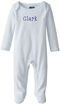 eed03037bd08 Blue and White Stripe Footed Sleeper by Mud Pie featured by Just Multiples Baby  Boy One