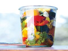 Marinated Summer Vegetables -- gorgeous! Fresh harvest veggies, roasted and placed warm into a garlicky vinaigrette.