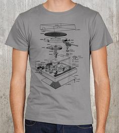 Curious about how your record player is made? This exploded blueprint t-shirt outlines how a turntable comes apart (or together, depending) without the hassle of tinkering yourself. Plenty learned, nothing broken.