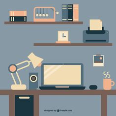 Flat working desk with coffee and laptop Free Vector Design Ios, Flat Design, Icon Design, Graphic Design, Winter Illustration, Flat Illustration, Motion Design, Design Thinking, Isometric Design